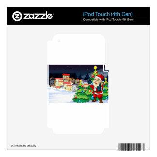 Papá Noel que se coloca al lado del ne de los iPod Touch 4G Calcomanía