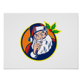 Papá Noel que señala el dedo retro Posters