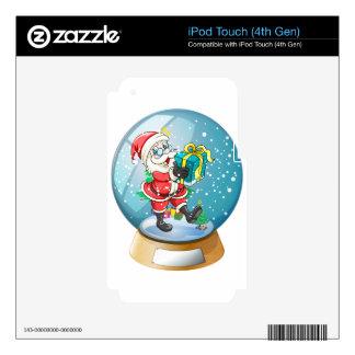 Papá Noel que sostiene un regalo dentro de la bola Calcomanía Para iPod Touch 4G