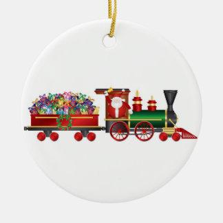 Papá Noel que suena Bell en el ornamento del tren Adorno De Navidad