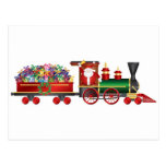 Papá Noel que suena Bell en el tren con la tarjeta Postal
