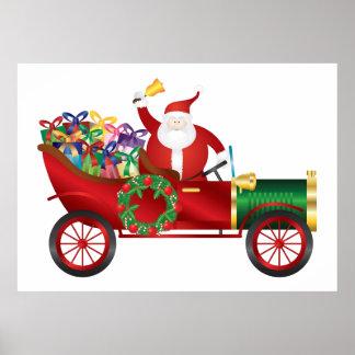 Papá Noel que suena Bell en poster del coche del v Póster