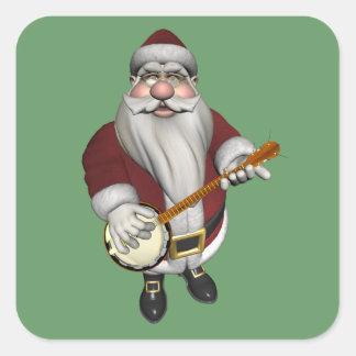 Papá Noel que toca el banjo Pegatina Cuadrada
