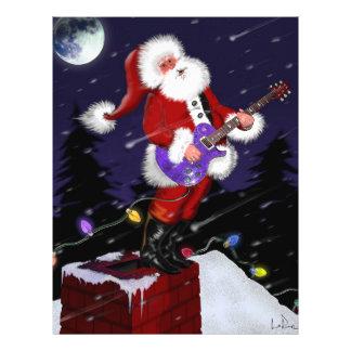 """Papá Noel que toca la guitarra eléctrica Folleto 8.5"""" X 11"""""""