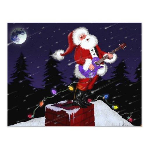 """Papá Noel que toca la guitarra eléctrica Invitación 4.25"""" X 5.5"""""""