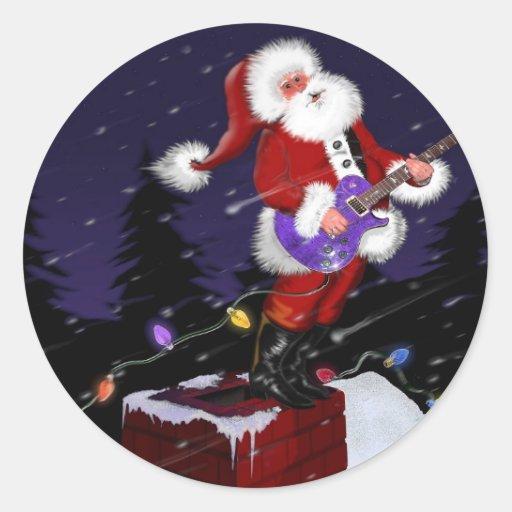 Papá Noel que toca la guitarra eléctrica Pegatinas Redondas