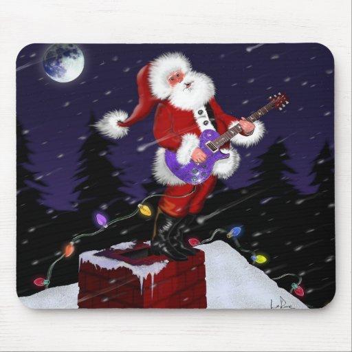 Papá Noel que toca la guitarra eléctrica Alfombrilla De Raton