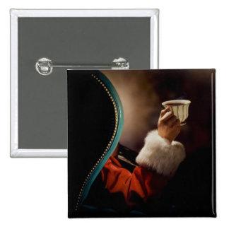 Papá Noel que toma una rotura el Nochebuena Pin Cuadrado