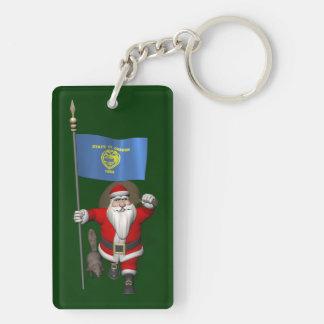 Papá Noel que visita el estado del castor Llavero Rectangular Acrílico A Doble Cara