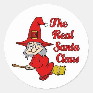 Papá Noel real Pegatinas Redondas