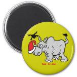 Papá Noel resuelve un rinoceronte Imán De Nevera