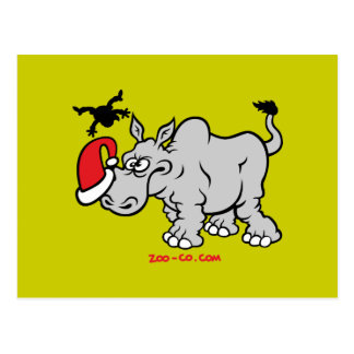 Papá Noel resuelve un rinoceronte Tarjeta Postal