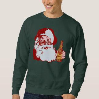 Papá Noel retro con navidad de una cerveza Pull Over Sudadera