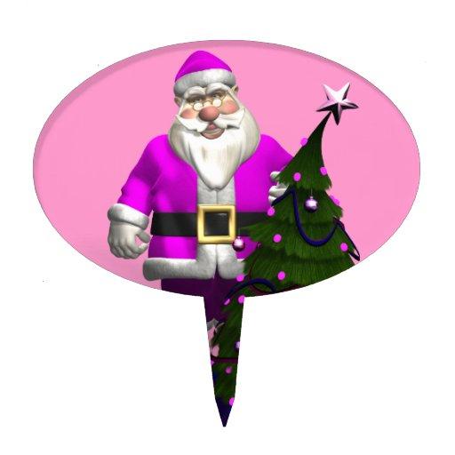 Papá Noel rosado Decoración Para Tarta