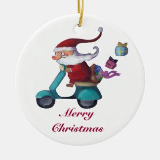 Papá Noel Scooterist Ornamentos De Navidad