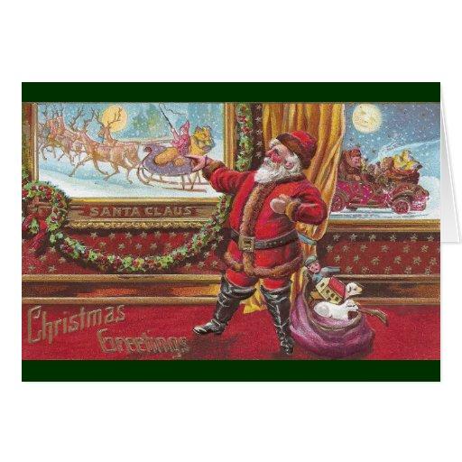 Papá Noel señala orgulloso en su retrato Tarjeta De Felicitación