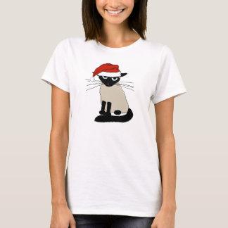 Papá Noel siamés - gato divertido del navidad Playera