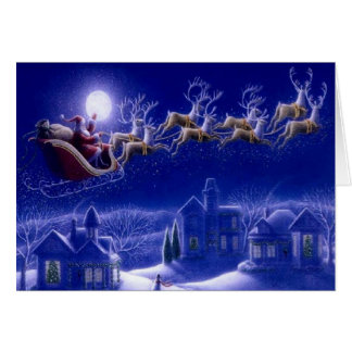 Papá Noel sobre la tarjeta de felicitación de los
