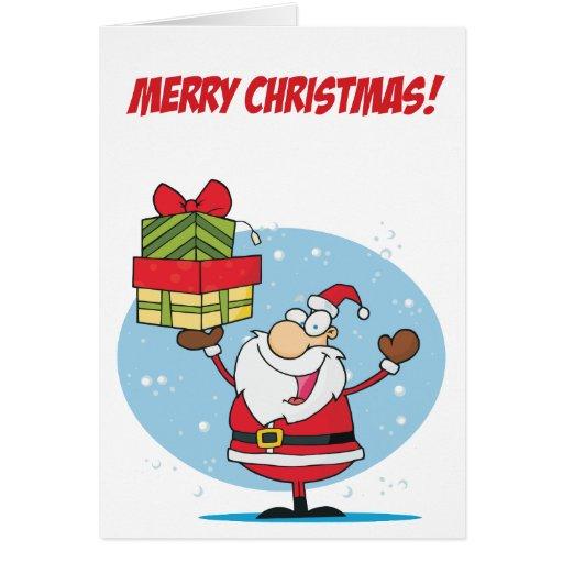 Papá Noel soporta un paquete de regalos Felicitación