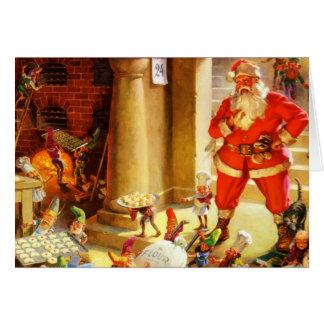 Papá Noel supervisa sus duendes el cocer de las ga Tarjeta De Felicitación