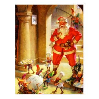 Papá Noel supervisa sus duendes el cocer de las Tarjetas Postales