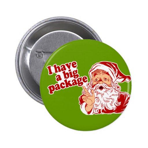 Papá Noel tiene un paquete grande Pins