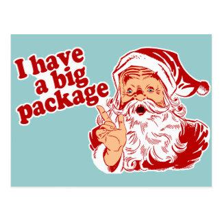 Papá Noel tiene un paquete grande Postal