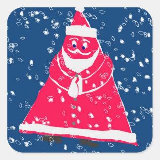 Papá Noel triangular en invierno Pegatina Cuadrada