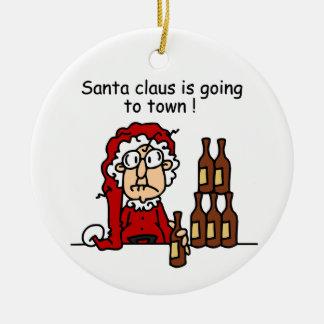 Papá Noel va a la ciudad Adorno Redondo De Cerámica