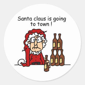 Papá Noel va a la ciudad Pegatina Redonda