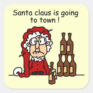 Papá Noel va a la ciudad Pegatina Cuadrada