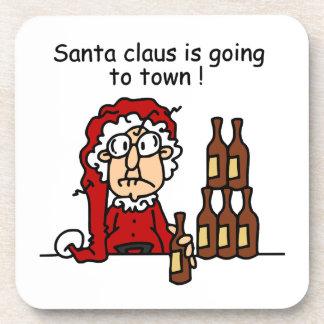 Papá Noel va a la ciudad Posavasos De Bebida