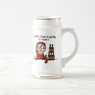 Papá Noel va a la ciudad Jarra De Cerveza