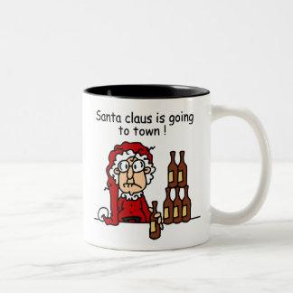 Papá Noel va a la ciudad Taza Dos Tonos