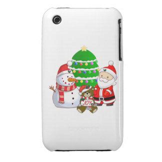 Papá Noel y amigos iPhone 3 Case-Mate Protectores