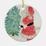 Papá Noel y árbol Adorno De Navidad