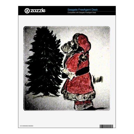 Papá Noel y árbol Calcomanías Para FreeAgent Desk