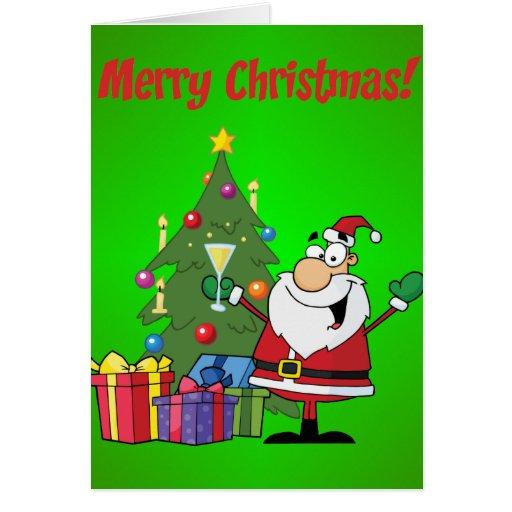 Papá Noel y árbol de navidad felices Felicitación