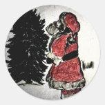 Papá Noel y árbol Pegatina Redonda