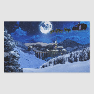 Papá Noel y el Polo Norte Pegatina Rectangular