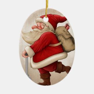 Papá Noel y la vespa del empuje Adorno Ovalado De Cerámica