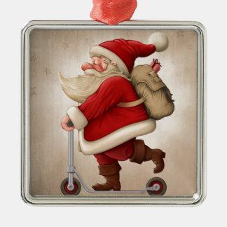 Papá Noel y la vespa del empuje Adorno Cuadrado Plateado