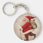 Papá Noel y la vespa del empuje Llavero Redondo Tipo Pin