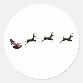Papá Noel y Minimalist del reno del vuelo Pegatina Redonda