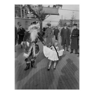 Papá Noel y niña en Deck, 1925 Impresiones