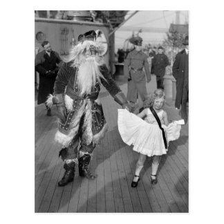 Papá Noel y niña en Deck, 1925 Tarjeta Postal