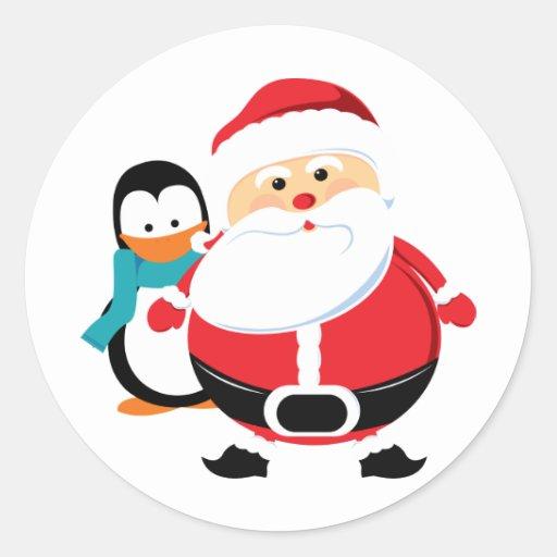 Papá Noel y pingüino lindos Pegatina Redonda