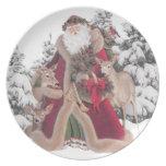 Papá Noel y placa del vintage de los cervatillos Platos