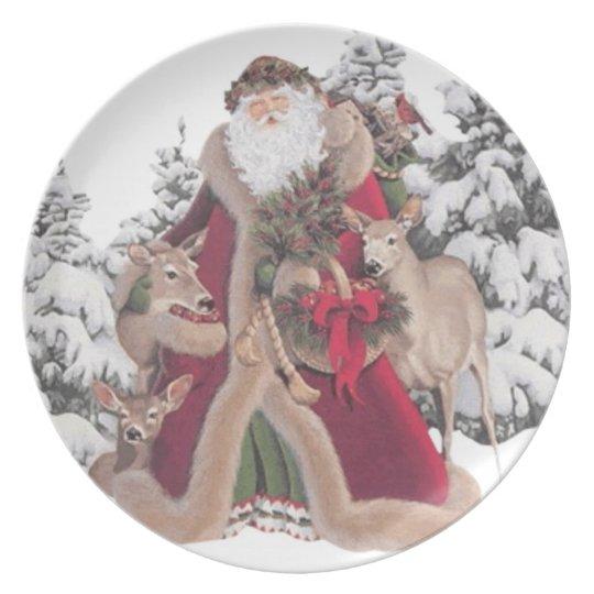Papá Noel y placa del vintage de los cervatillos Plato De Comida
