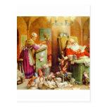 Papá Noel y señora Claus en la sala de correo de P Tarjetas Postales
